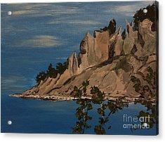 Ptg. Chimney Bluffs Acrylic Print by Judy Via-Wolff