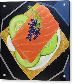 Salmon And Caviar Canape Acrylic Print by Toni Silber-Delerive