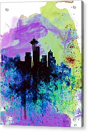 Seattle Watercolor Skyline 1 Acrylic Print by Naxart Studio