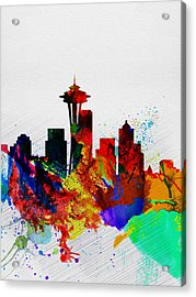Seattle Watercolor Skyline 2 Acrylic Print by Naxart Studio