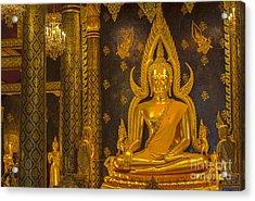 The Main Hall Of Wat Thardtong With Golden Buddha Statue Acrylic Print by Anek Suwannaphoom