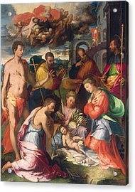 The Nativity Acrylic Print by Perino del Vaga Pietro Buonaccorsi
