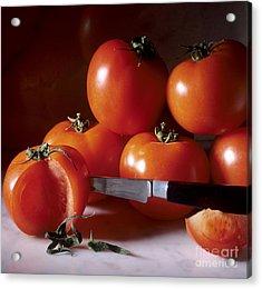 Tomatoes And A Knife Acrylic Print by Bernard Jaubert