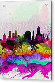 Tulsa Watercolor Skyline Acrylic Print by Naxart Studio