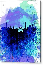 Venice Watercolor Skyline Acrylic Print by Naxart Studio