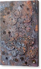 Watch Faces Decaying Acrylic Print by Garry Gay