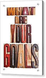 What Are Your Goals Acrylic Print by Donald  Erickson