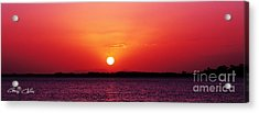 White Sun And Crimson Glow - Sunset Xmas Day. Acrylic Print by Geoff Childs