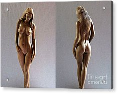 Wood Sculpture Of Naked Woman Acrylic Print by Carlos Baez Barrueto