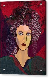 045 -  Woman With Green Dress.... Acrylic Print by Irmgard Schoendorf Welch