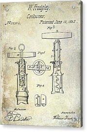 1862 Corkscrew Patent Drawing Acrylic Print by Jon Neidert