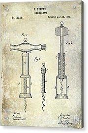 1876 Corkscrew Patent Drawing Acrylic Print by Jon Neidert