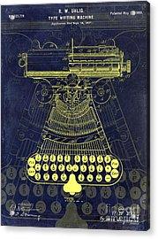 1899 Type Writer Patent Drawing Blue Acrylic Print by Jon Neidert