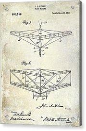 1909 Flying Machine Patent Drawing  Acrylic Print by Jon Neidert