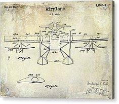 1927 Airplane Patent Drawing Acrylic Print by Jon Neidert
