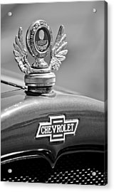1928 Chevrolet Stake Bed Pickup Hood Ornament Acrylic Print by Jill Reger