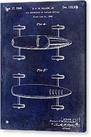 1940 Toy Car Patent Drawing Blue Acrylic Print by Jon Neidert