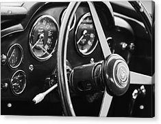 1960 Aston Martin Db4 Gt Coupe' Steering Wheel Emblem Acrylic Print by Jill Reger