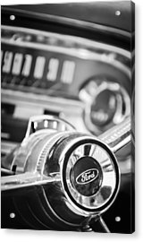 1963 Ford Falcon Futura Convertible Steering Wheel Emblem Acrylic Print by Jill Reger