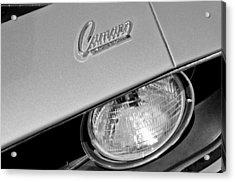 1969 Chevrolet Camaro Headlight Emblem Acrylic Print by Jill Reger