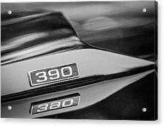 1969 Ford Mustang Mach 1 390 Hood Emblem Acrylic Print by Jill Reger