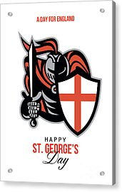 A Day For England Happy St George Greeting Card Acrylic Print by Aloysius Patrimonio