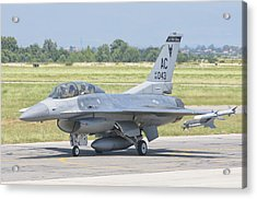 A U.s. Air Force F-16 During Exercise Acrylic Print by Giovanni Colla