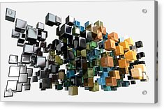 Abstract Shiny Cubes Acrylic Print by Allan Swart