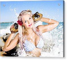 Active Sexy Summer Beach Babe With Skateboard Acrylic Print by Jorgo Photography - Wall Art Gallery