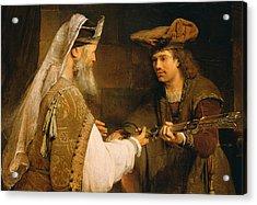 Ahimelech Giving The Sword Of Goliath To David Acrylic Print by Aert de Gelder