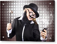 Angry Business Person With Broken Down Technology Acrylic Print by Jorgo Photography - Wall Art Gallery