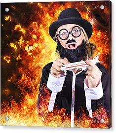 Angry Business Terrorist Hijacking Model Plane Acrylic Print by Jorgo Photography - Wall Art Gallery