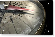 Antique Compass Closeup Acrylic Print by Allan Swart