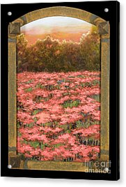 Arched Morning Orange Poppy Field W Frame Acrylic Print by Vic  Mastis