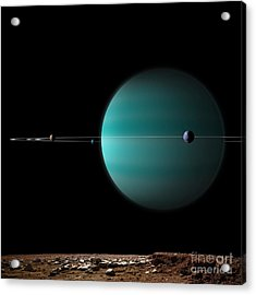 Artists Depiction Of A Ringed Gas Giant Acrylic Print by Marc Ward