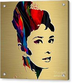 Audrey Hepburn Gold Series Acrylic Print by Marvin Blaine