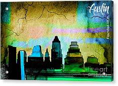 Austin Skyline Watercolor Acrylic Print by Marvin Blaine