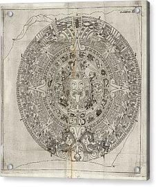 Aztec Calendar Stone Acrylic Print by Library Of Congress