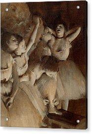 Ballet Rehearsal On Stage Acrylic Print by Edgar Degas