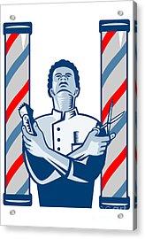 Barber With Pole Hair Clipper And Scissors Retro Acrylic Print by Aloysius Patrimonio