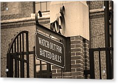 Baseball Warning Acrylic Print by Frank Romeo