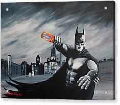 Batman Saturday Night Acrylic Print by J P Mclaughlin