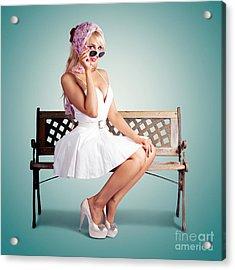 Beautiful Blond Woman In Retro American Fashion Acrylic Print by Jorgo Photography - Wall Art Gallery