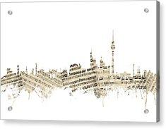 Berlin Germany Skyline Sheet Music Cityscape Acrylic Print by Michael Tompsett