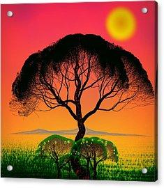 Black Tree - Algorithmic Art Acrylic Print by GuoJun Pan