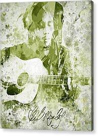 Bob Marley Portrait Acrylic Print by Aged Pixel