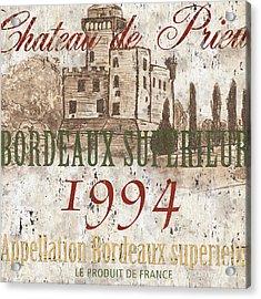 Bordeaux Blanc Label 2 Acrylic Print by Debbie DeWitt