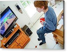 Boy Playing Wii Video Game Acrylic Print by Aj Photo
