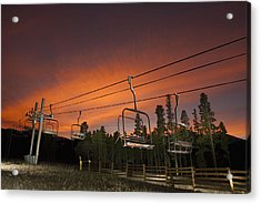 Breckenridge Chairlift Sunset Acrylic Print by Michael J Bauer