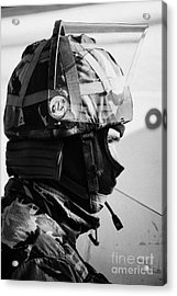 British Army Soldier With Helmet And Riot Gear On Crumlin Road At Ardoyne Shops Belfast 12th July Acrylic Print by Joe Fox
